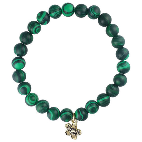 Emerald Green Malachite Beaded Stackable Bracelet