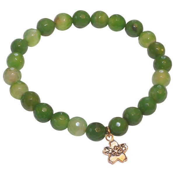 Green Fire Agate Beaded Stackable Bracelet