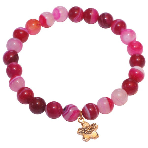 Passion Pink Fire Agate Beaded Stackable Bracelet