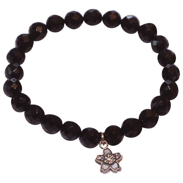Faceted Black Onyx Beaded Stackable Bracelet