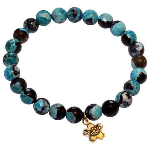 Aqua Fire Agate Beaded Stackable Bracelet