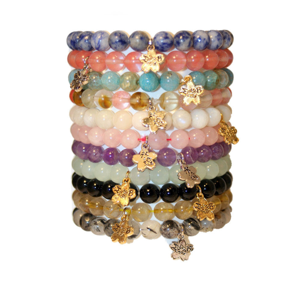 Snowflake Agate Beaded Stackable Bracelet