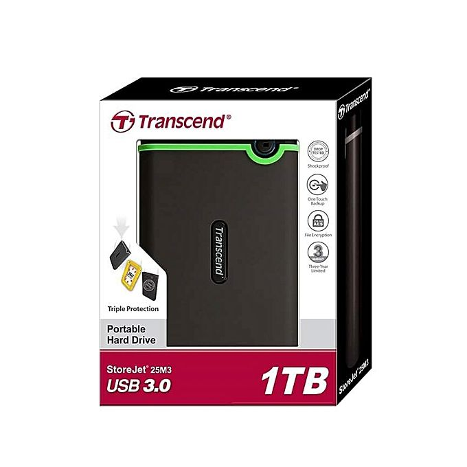 Transcend 1TB External Hard Drive StoreJet M3 Military Drop Tested USB 3.0 - Black
