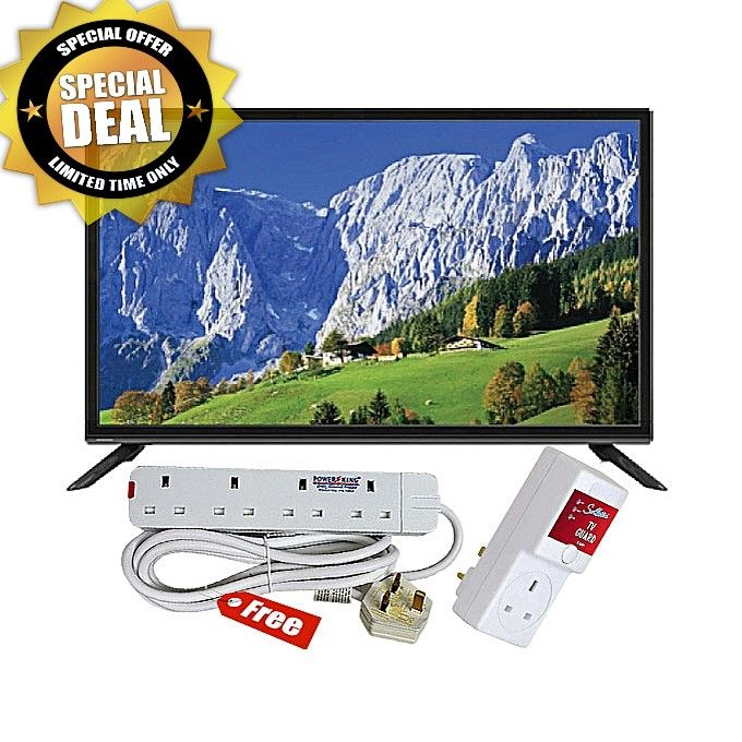 Smartec 40 Inch HD LED TV with Inbuilt Digital Decorder (Black) + Tv Power Guard + Free Power Extension Cable - White,Black.