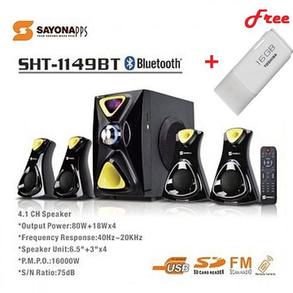 Sayona 5.1 Bluetooth HD Multimedia System + 1 Free 16GB Flash Drive