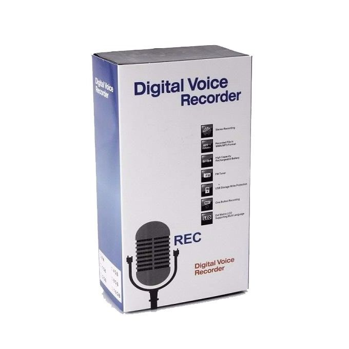 8GB Rechargeable Digital Audio Voice Recorder - Black