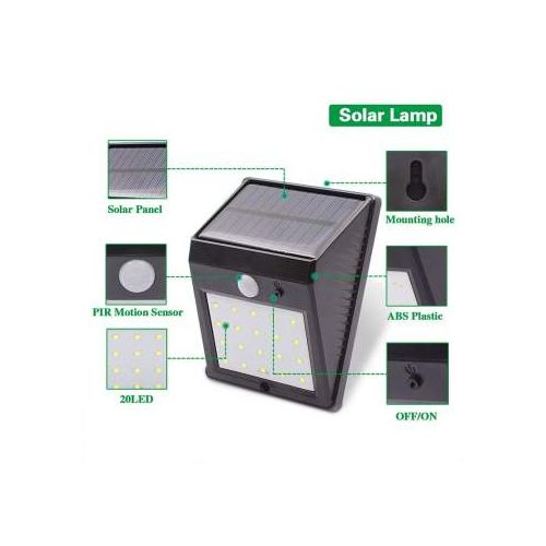 4PACK PIR Outdoor Water Proof Motion Sensor Solar LED Light - Black