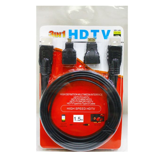 1.5M High Speed 3 In 1 High Definition Multimedia Interface HDMI TO Mini Micro D HDMI Adapter Cable - Black