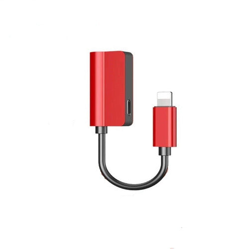 Generic 2 in 1 Lighting Adapter,Lighting to 3.5mm Aux Headphone Jack Adapterwith Phone XS/XS MAX/XR/X / 7/8 / 7 Plus / 8 Plus - Red