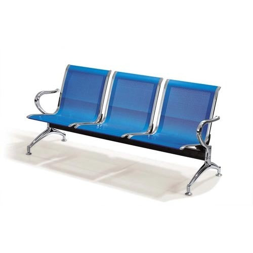 Three Seater Aluminium Alloy Airport Waiting and Reception Chair - Blue