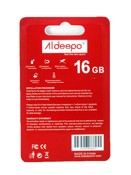 Aldeepo 16GB Class10 High Speed Memory Card  - Black