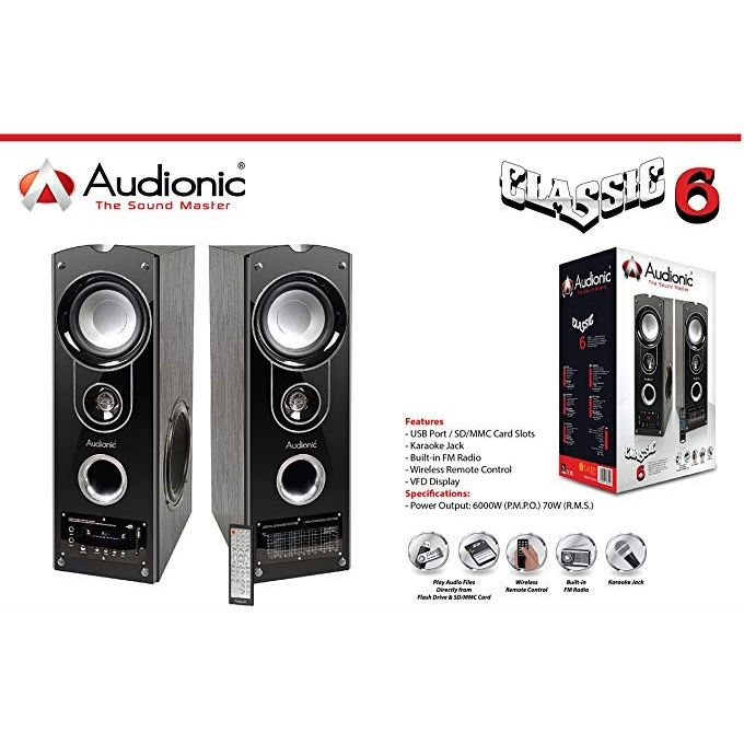 Audionic CLASSIC 6 Wireless Bluetooth 2.0 Channel HiFi Speakers - Black