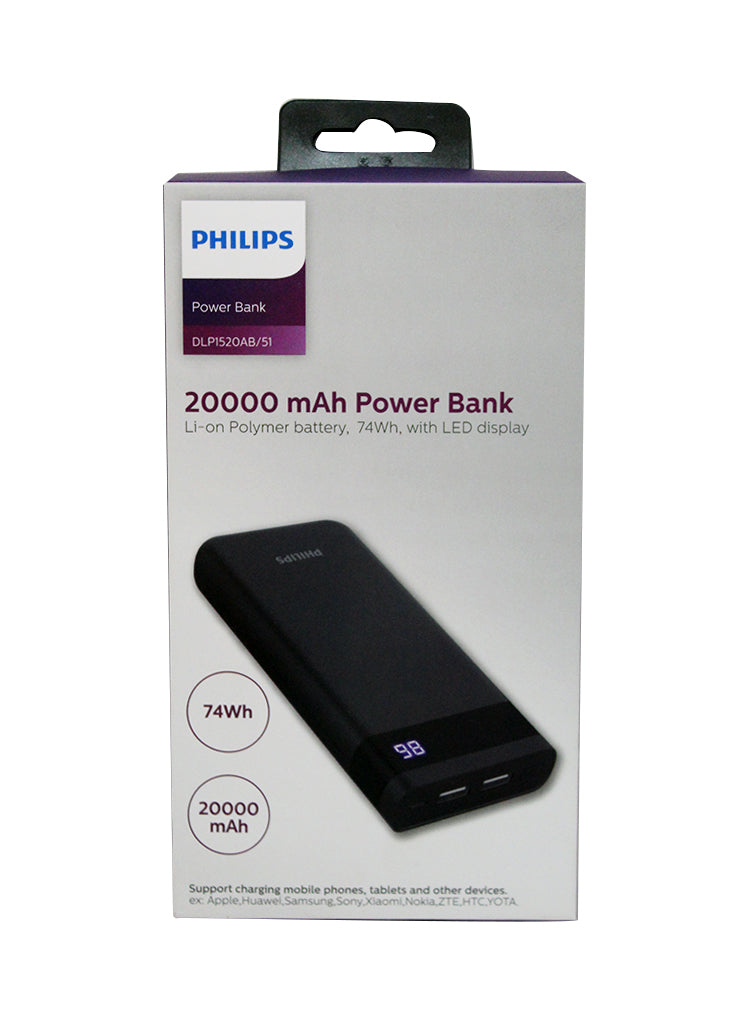 Philips 20000mAh Dual USB LED Display Power Bank - Black