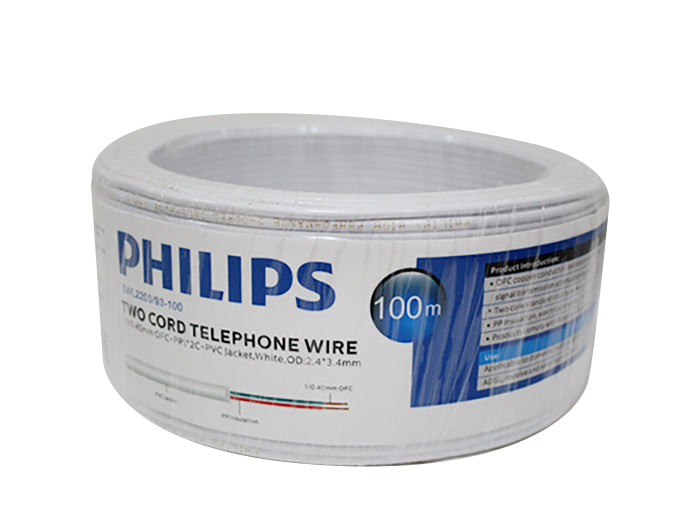 Philips Premium Two Cord Telephone Wire 100m - White
