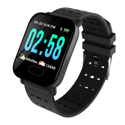 A6 Waterproof IP67 Bluetooth Pedometer Heart Rate Monitor Color Display Smart Watch For Android/IOS - Black