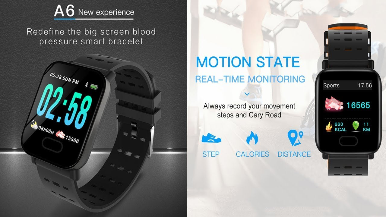 A6 Waterproof IP67 Bluetooth Pedometer Heart Rate Monitor Color Display Smart Watch For Android/IOS - Green
