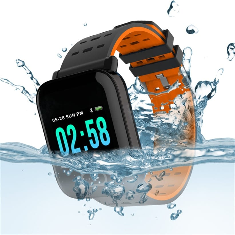 A6 Waterproof IP67 Bluetooth Pedometer Heart Rate Monitor Color Display Smart Watch For Android/IOS - Orange
