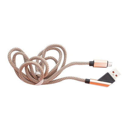 Aldeepo 1.5M Nylon Braided Wire Fast Charging Micro Data Cable - Gold