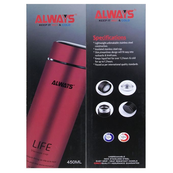 Always 450ml Always Life Slim Vacuum Bottle - Red