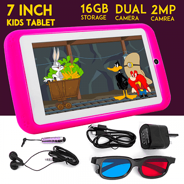 K89 Atouch 7-Inch 1GB RAM +16GB Android 6.0 Kid's Tablet PC + Proof Case - Pink