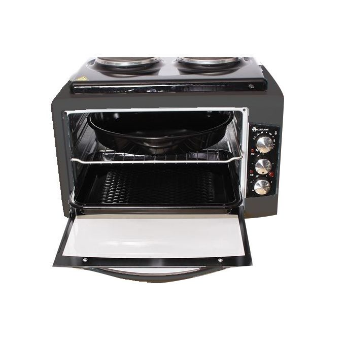 BlueFlame BF-0125 Mini Oven Series With 2 Hot Plates, 40 Litre - Black