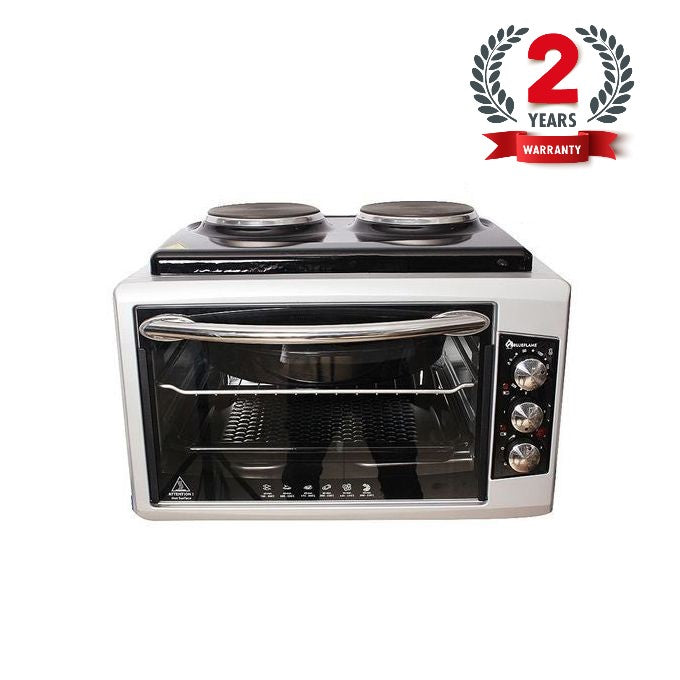 BlueFlame BF-0725 Mini Oven Series 50 Litres With 2 Hot Plates - Silver