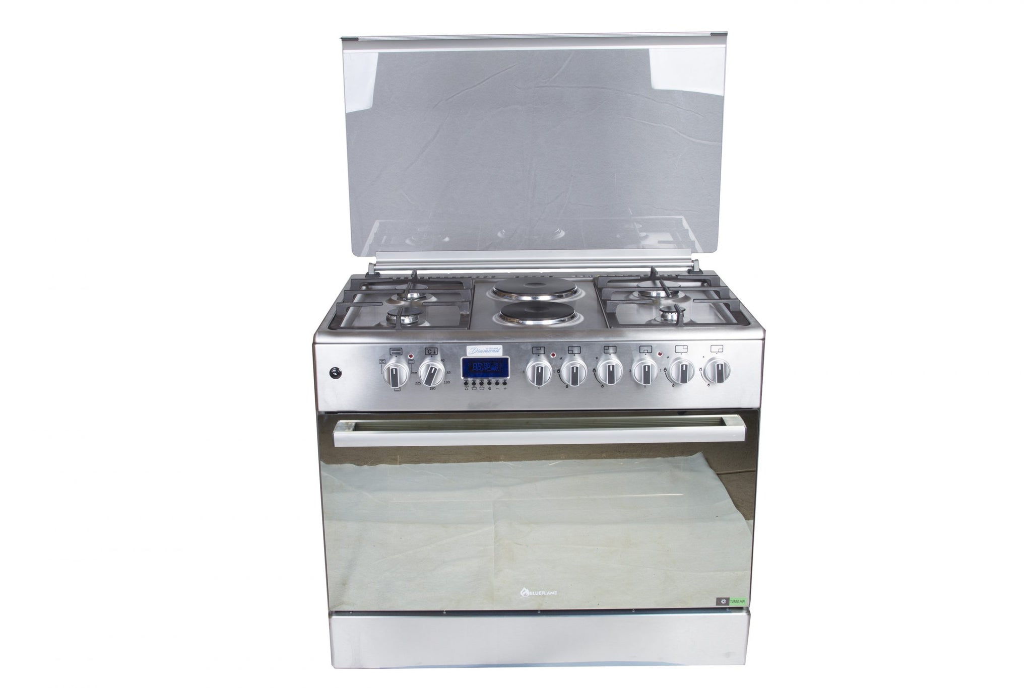 BlueFlame Diamond E9042EFR Stainless Steel 4 Gas Cooker + 2 Electric Plates 90x60cm With Electric Oven - Inox