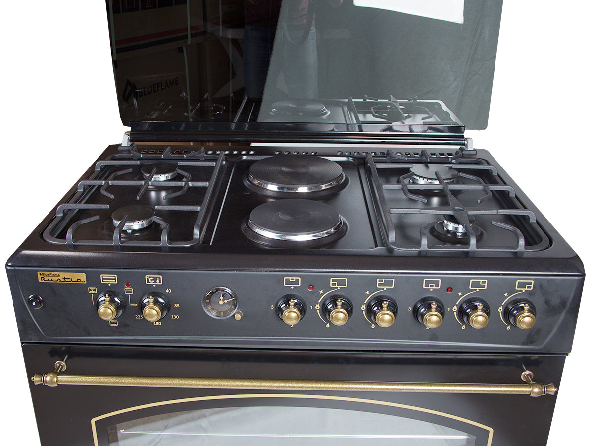 BlueFlame F9P42ERF-B Rustic Cooker 90 X 60 cm With 4 Gas Burner and 2 Hot Plates - Black