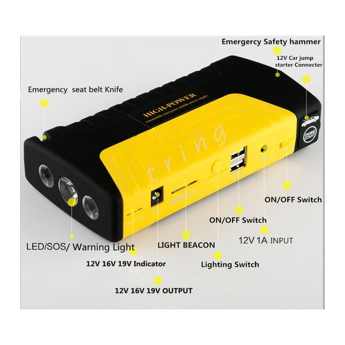 12000mAh Multifunctional Car Electronics Power Battery Charger Car Jump Starter Mobile - Yellow,Red