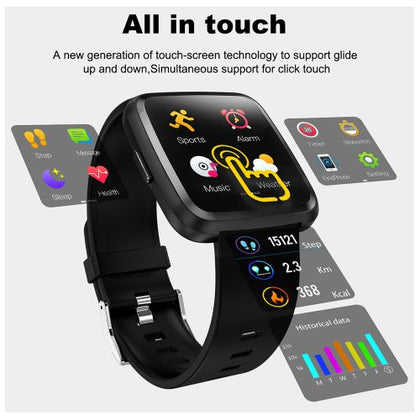 COLMI CY7 Unisex Smart Watch Full Screen Touch IP67 Waterproof Bluetooth Sports fitness tracker Men Smartwatch For IOS Android Phone - Black