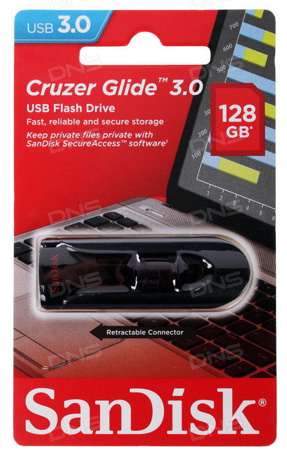 SanDisk Cruzer Glide 128GB 3.0 Flash Drive - Black,Red