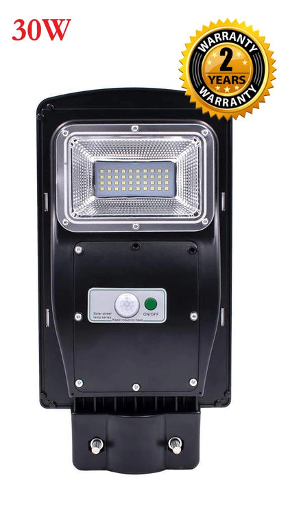 30W LED IP5 Waterproof Auto Night & Day Solar Motion Sensor Outdoor Garden & Street Light With Remote Control  - Black