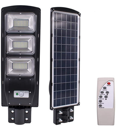 90W LED IP5 Waterproof Auto Night & Day Solar Motion Sensor Outdoor Garden & Street Light With Remote Control  - Black