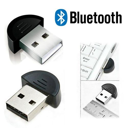 Wireless USB Bluetooth Receiver Adapter Curvy-End Dongle - Black