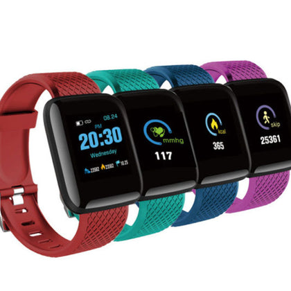 D13 Wristband Heart Rate Unisex Waterproof Smart Watch - Red
