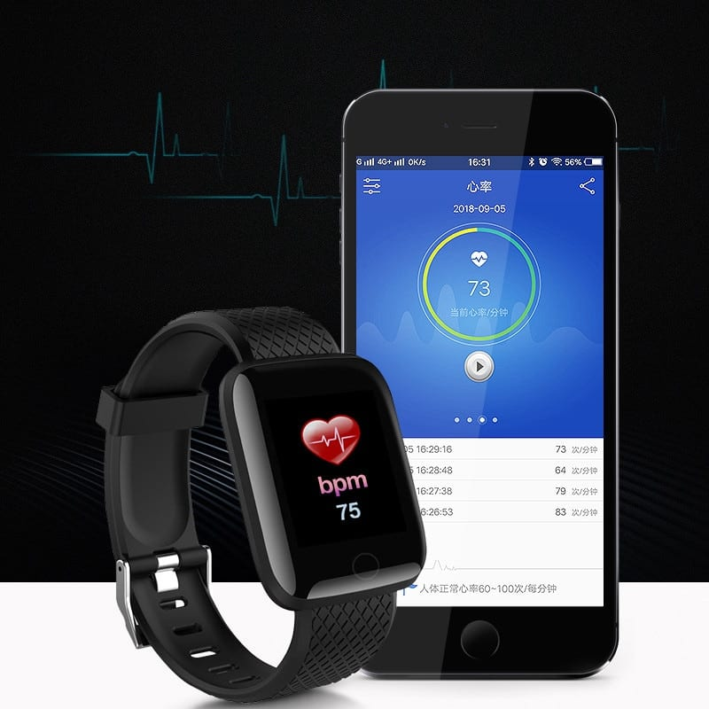 D13 Wristband Heart Rate Unisex Waterproof Smart Watch - Black