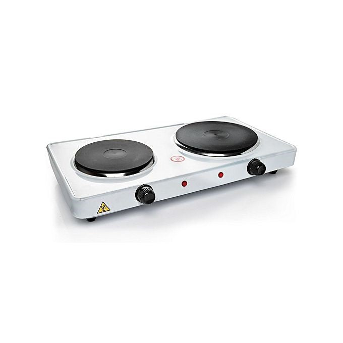 Electric Double Burner Hot Plate - White
