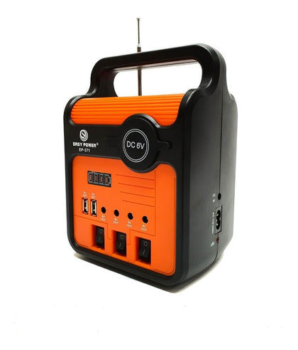 Easy Power EP-371 Solar Home Lighting System With FM, Bluetooth, TF Slot & USB Phone Charging - Black,Orange