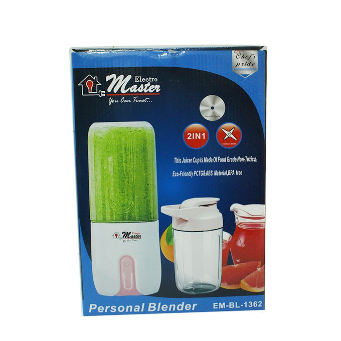 Electro Master BL1362 USB Rechaegeable Portable Blender, 250ML - Pink