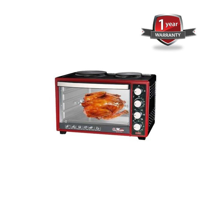 Electro Master EM-EO-1146-60HPR Oven With Hot Plate & Rotisserie, 60Ltrs - Black,Red