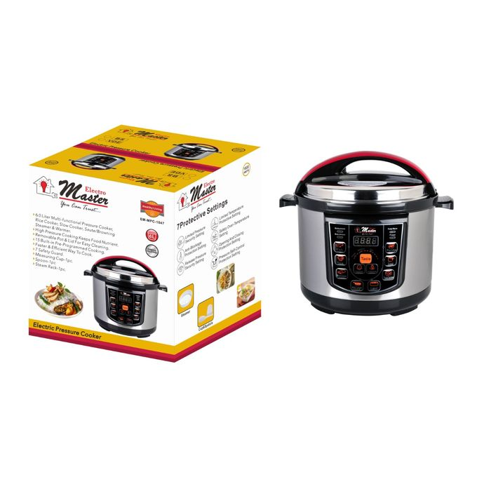 6.0 Litre Electro Masters EM-MPC-1047 Electric Pressure Cooker, 1600watts - Grey,Black
