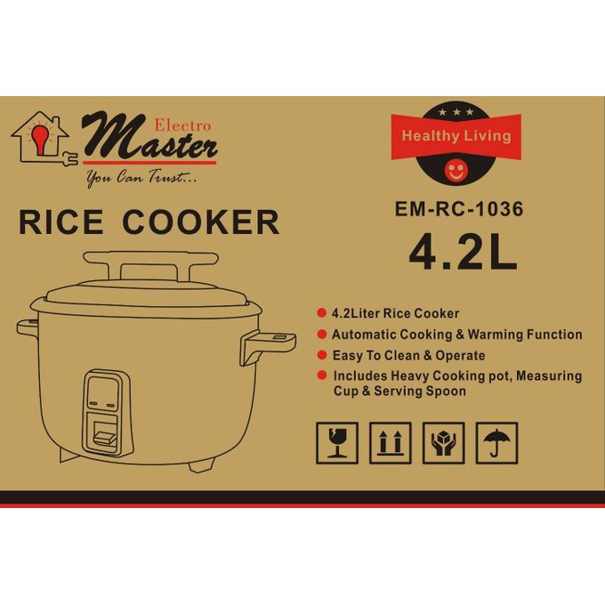 Electro Masters EM-RC 1036 Deluxe Rice Cooker, 4.2 Ltrs - White