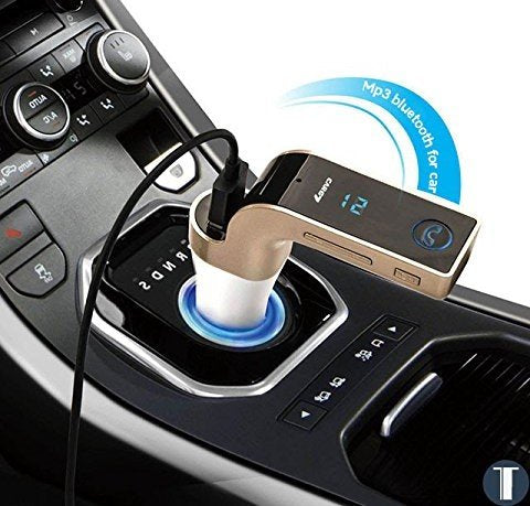 G7 Bluetooth Car Kit Handsfree FM, MP3 Player & USB Charger - Rose Gold