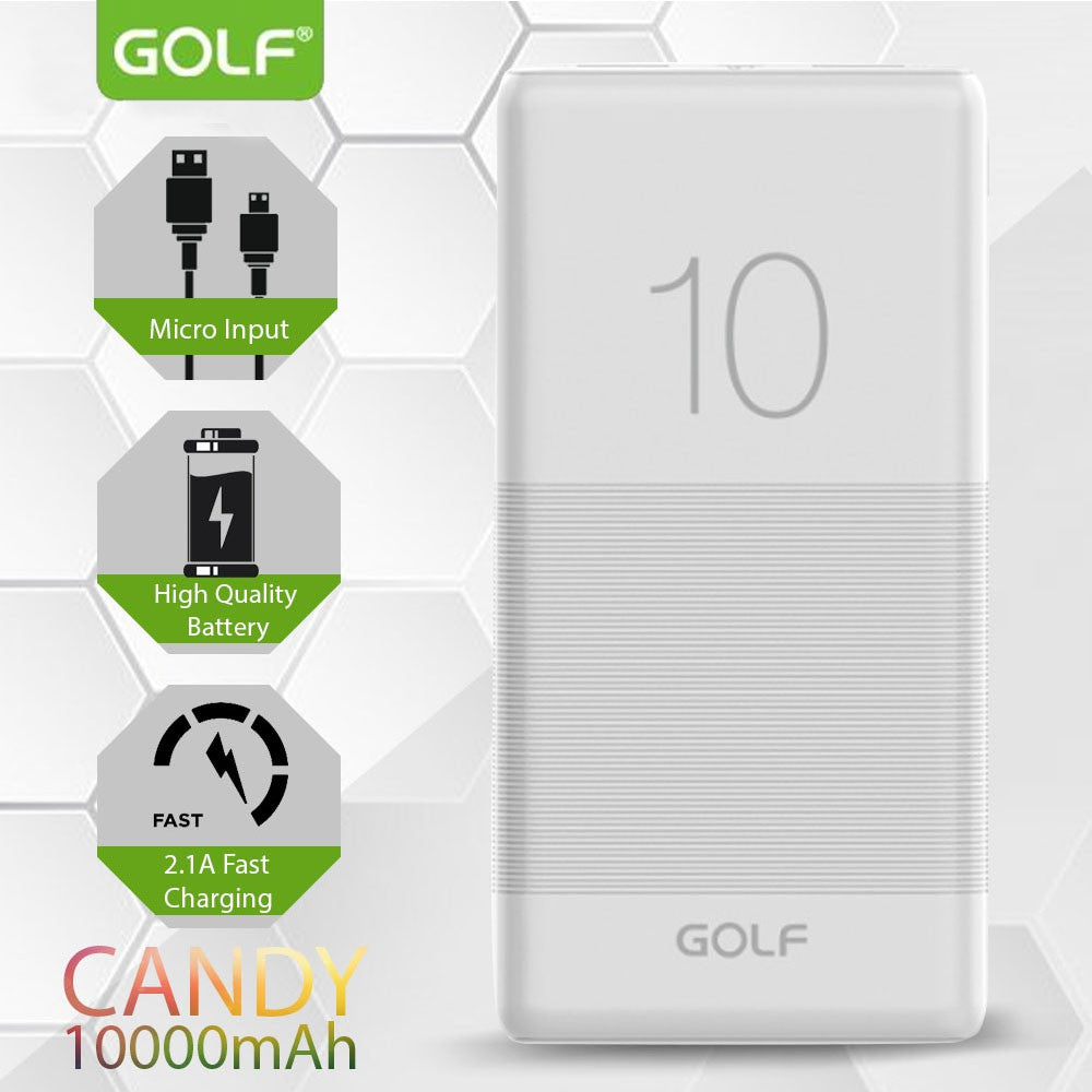 Golf G80 Candy 10,000mAh 2USB Portable Power Bank - White
