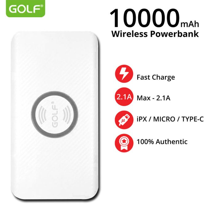 GOLF W4 Wireless Type-C 10000mAh 5w Quick Charge Power Bank - White