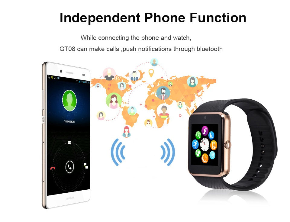 GT08 Bluetooth Touch Screen Camera Smart Watch With Pedometer Sport Tracker - Gold