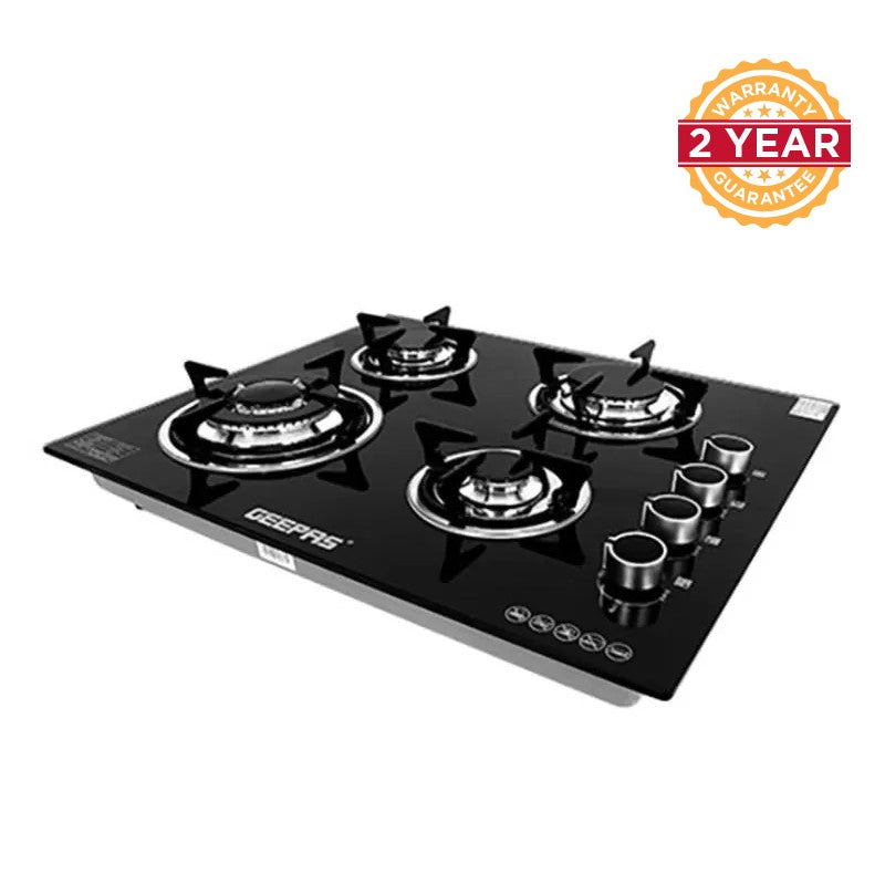 Geepas GK4410 Premium 4-Burner Gas Cooktop - Black