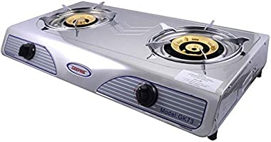 Geepas GK73 Aluminium Alloy Double Gas Burner With Auto Ignition - Silver