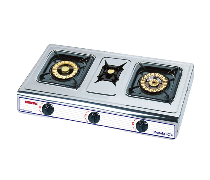 Geepas GK74 Stainless Steel Tripple Gas Burner with Auto Ignition System - Silver