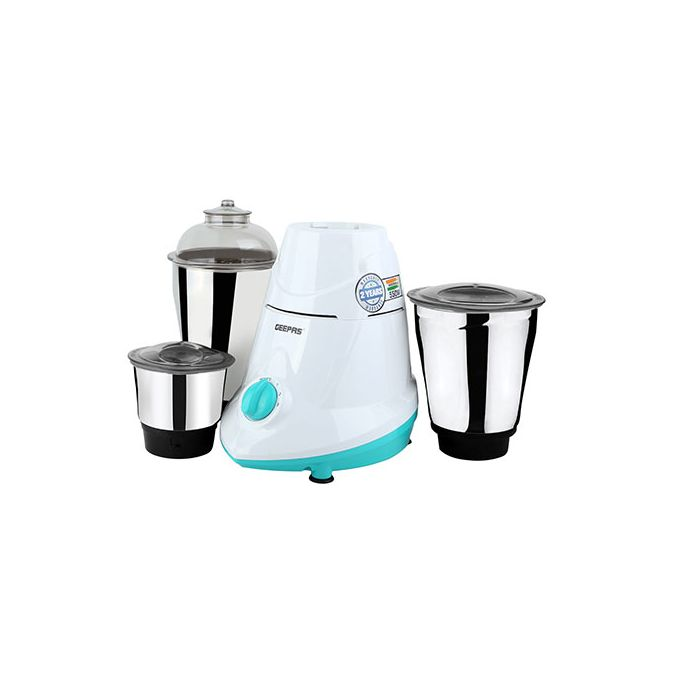 Geepas 550W 3-in-1 Mixer Grinder With Unbreakable Jars - White Blue